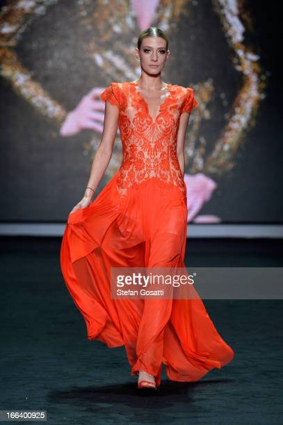 A model showcases designs by Thurley on the runway at the Hello Elle Australia show during MercedesBenz Fashion Week Australia Spring/Summer 2013/14...