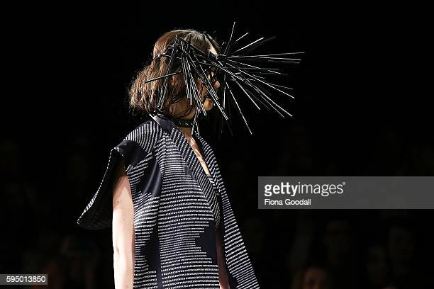 A model showcases designs by Tihi King in the Miromoda show on the runway during 2016 New Zealand Fashion Week on August 25 2016 in Auckland New...
