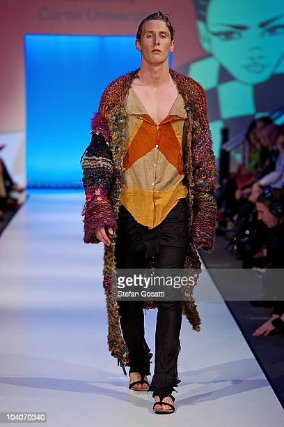 Model showcases designs by Tobi Stanely during the Student Runway show as part of Perth Fashion Week 2010 at Fashion Paramount on September 13, 2010...