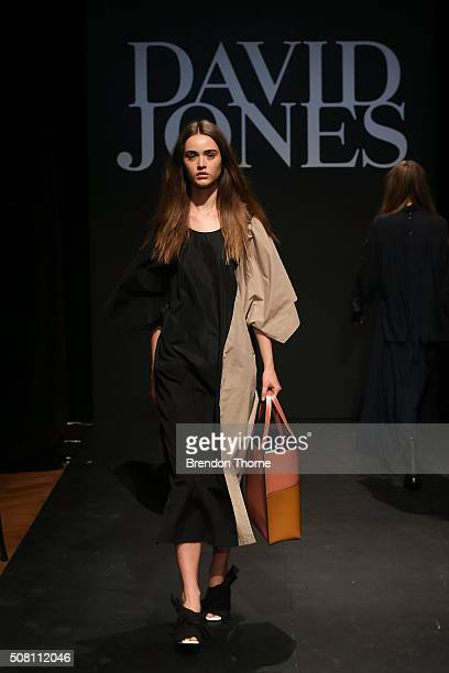 A model showcases designs by Tome during rehearsal ahead of the David Jones Autumn/Winter 2016 Fashion Launch at David Jones Elizabeth Street Store...