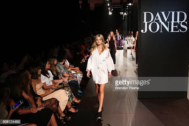 A model showcases designs by Tome on the runway at the David Jones Autumn/Winter 2016 Fashion Launch at David Jones Elizabeth Street Store on...