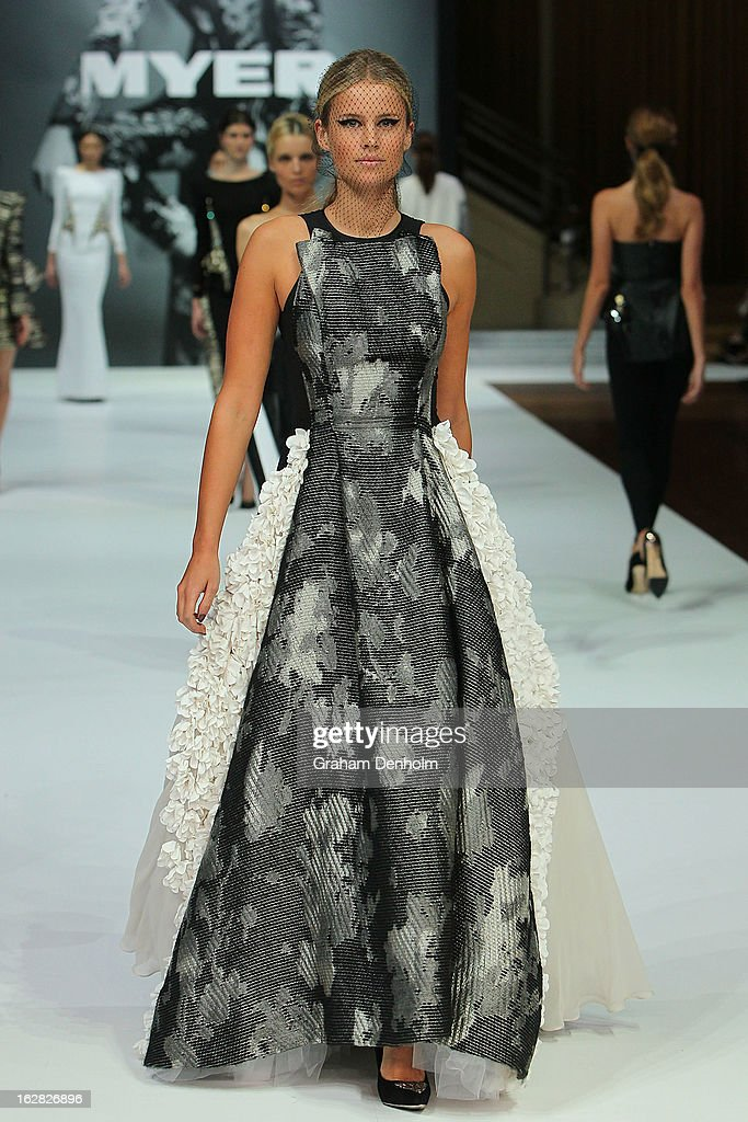 A model showcases designs by Toni Maticevski at the Myer Autumn/Winter 2013 collections launch at Mural Hall at Myer on February 28, 2013 in Melbourne, Australia.