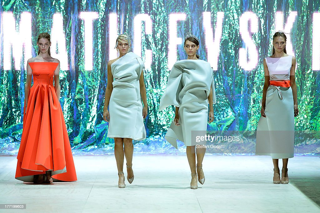 A model showcases designs by Toni Maticevski on the runway at the MBFWA Trends show during Mercedes-Benz Fashion Festival Sydney 2013 at Sydney Town Hall on August 22, 2013 in Sydney, Australia.