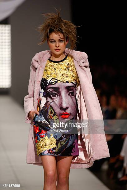 A model showcases designs by Trelise Cooper at New Zealand Fashion Week 2014 on August 26 2014 in Auckland New Zealand