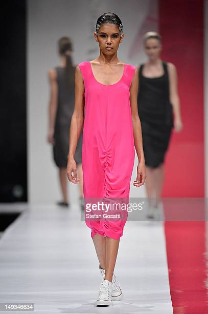 Model showcases designs by United Constructions on the catwalk during StyleAID 2012 at the Burswood Entertainment Complex on July 27, 2012 in Perth,...