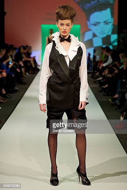 Model showcases designs by Veronica Parish during the Student Runway show as part of Perth Fashion Week 2010 at Fashion Paramount on September 13,...