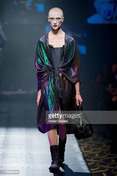 Model showcases designs by Vivienne Westwood presented by Dilettante on the catwalk during StyleAID 2013 at Crown Perth on August 9, 2013 in Perth,...