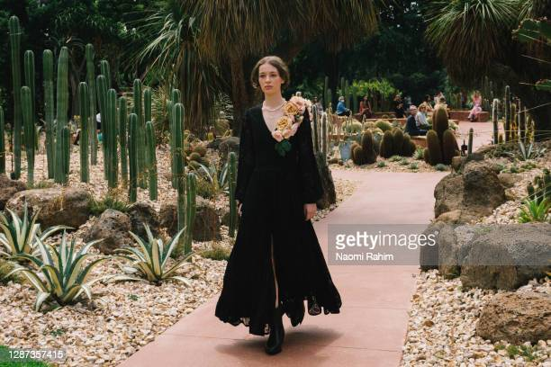 Model showcases designs by We Are Kindred during the Arid Garden Runway as part of Melbourne Fashion Week on November 24, 2020 in Melbourne,...