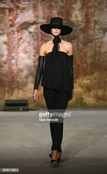 A model showcases designs by White Suede on the runway at the Myer AW16 Fashion Launch on February 11 2016 in Sydney Australia