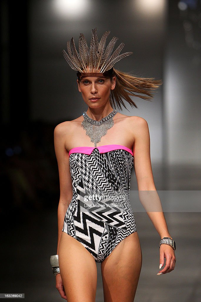 A model showcases designs by Wild Pony on the runway during Fashion Palette 2013 on March 7, 2013 in Sydney, Australia.
