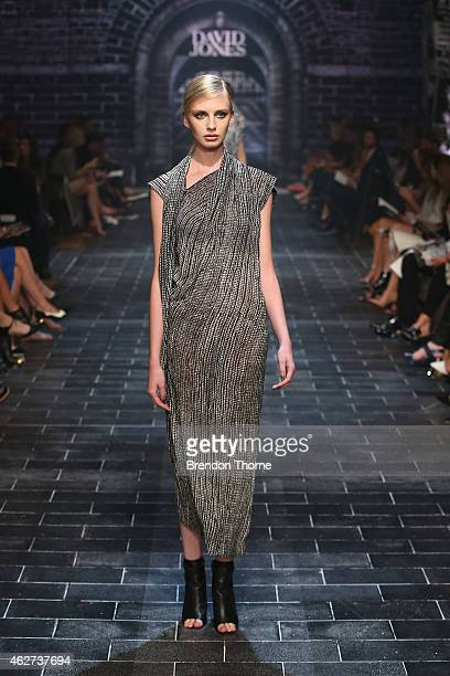 A model showcases designs by Willow at the David Jones Autumn/Winter 2015 Collection Launch at David Jones Elizabeth Street Store on February 4 2015...