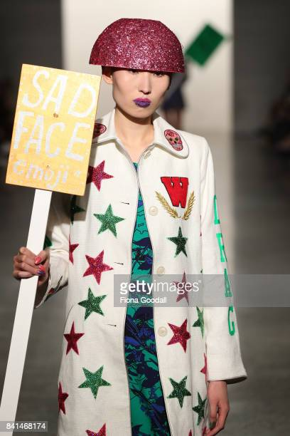 A model showcases designs by WORLD on the runway at New Zealand Fashion Week 2017 on September 1 2017 in Auckland New Zealand