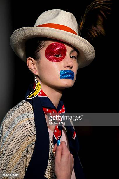 A model showcases designs by World on the runway during 2016 New Zealand Fashion Week on August 27 2016 in Auckland New Zealand