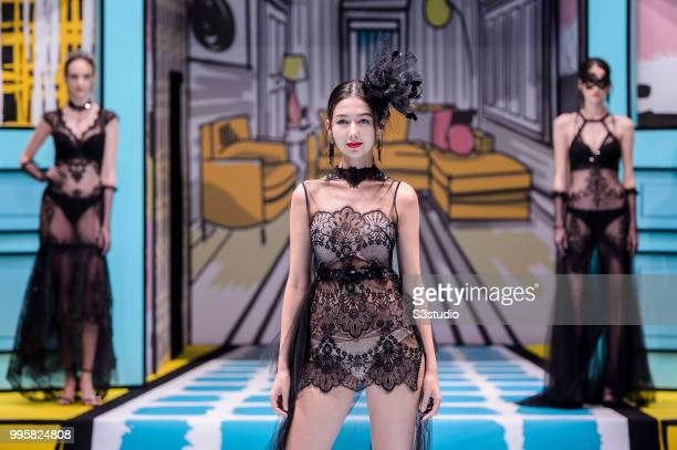 A model showcases designs by Yanbu Intimate Wear during the Hong Kong Fashion Week 2018 Spring/Summer at the Hong Kong Convention and Exhibition...