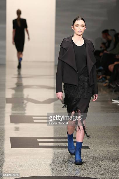 A model showcases designs by Zambesi at New Zealand Fashion Week 2014 on August 27 2014 in Auckland New Zealand