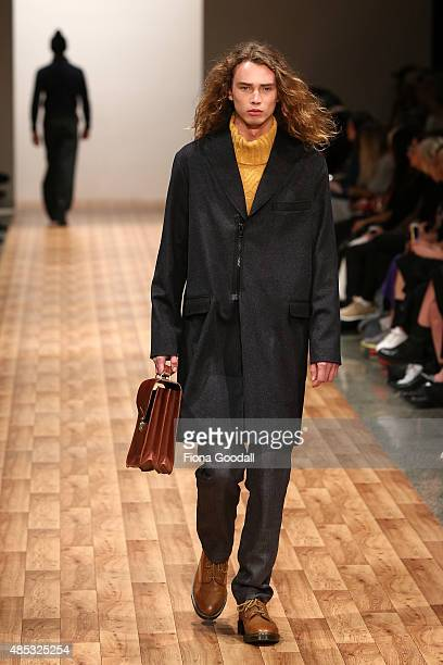 A model showcases designs by Zambesi at New Zealand Fashion Week 2015 on August 27 2015 in Auckland New Zealand