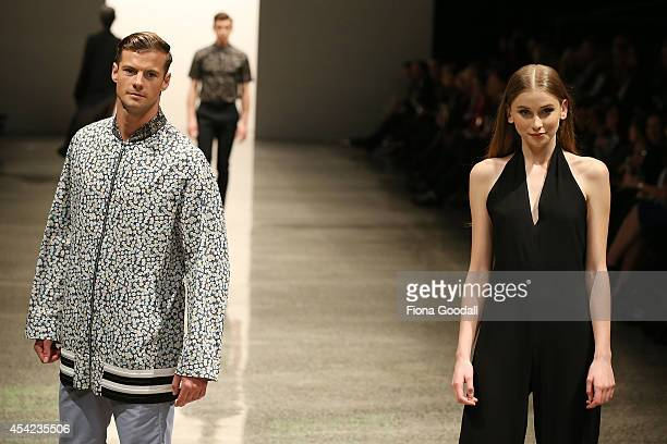 A model showcases designs by Zambesi at the Resene Designer Selection at New Zealand Fashion Week 2014 on August 27 2014 in Auckland New Zealand