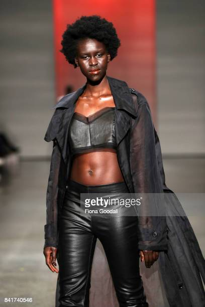 A model showcases designs by Zambesi in the FQ Miss FQ on the runway at New Zealand Fashion Week 2017 on September 2 2017 in Auckland New Zealand