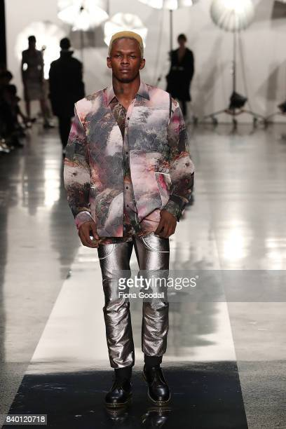A model showcases designs by Zambesi on the runway at New Zealand Fashion Week 2017 on August 28 2017 in Auckland New Zealand