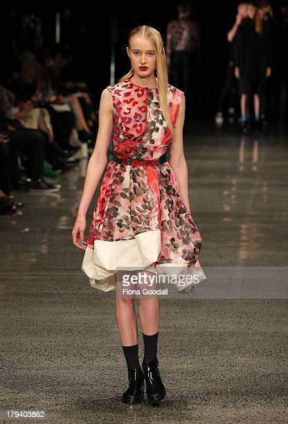 A model showcases designs by Zambesi on the runway during New Zealand Fashion Week at the Viaduct Events Centre on September 3 2013 in Auckland New...