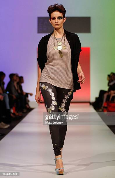 Model showcases designs by Zara Bryson during the Fifteen Minutes - Rise of the Fashion Bloggers collection catwalk show as part of Perth Fashion...