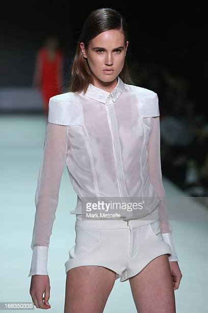 A model showcases designs by Zhivago on the runway at the New Generation show during MercedesBenz Fashion Week Australia Spring/Summer 2013/14 at...