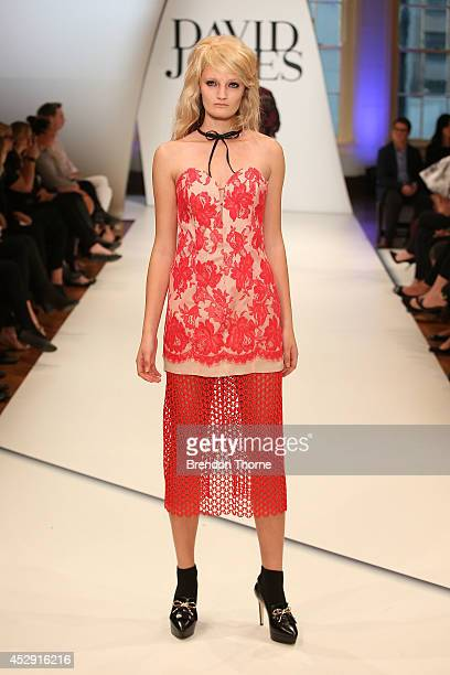 A model showcases designs by Zimmerman during a rehearsal ahead of the David Jones Spring/Summer 2014 Collection Launch at David Jones Elizabeth...