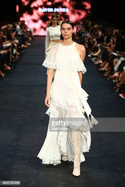 A model showcases designs by Zimmermann on the runway at the David Jones Autumn Winter 2017 Collections Launch at St Mary's Cathedral Precinct on...