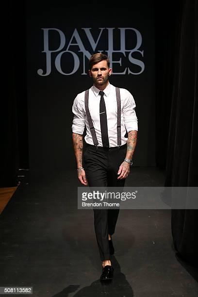 A model showcases designs during rehearsal ahead of the David Jones Autumn/Winter 2016 Fashion Launch at David Jones Elizabeth Street Store on...