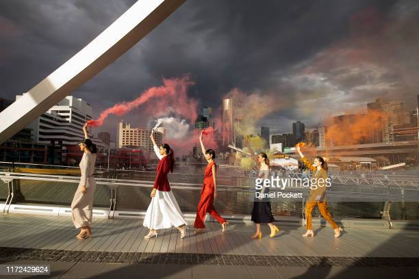 A model showcases designs during Street Runway 4 at Melbourne Fashion Week on September 05 2019 in Melbourne Australia