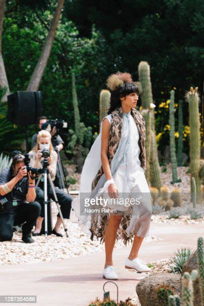 Model showcases designs during the Arid Garden Runway as part of Melbourne Fashion Week on November 24, 2020 in Melbourne, Australia.