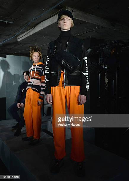 A model showcases designs during the Blood Brother presentation during London Fashion Week Men's January 2017 collections at BFC Presentation Space...