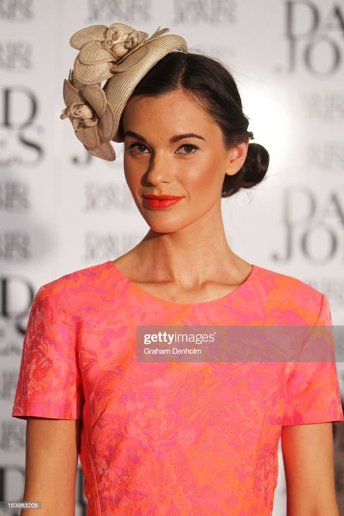 A model showcases designs during the David Jones High Tea & Spring Millinery Event at David Jones Bourke Street Mall on October 12, 2012 in Melbourne, Australia.