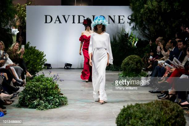 A model showcases designs during the David Jones Spring Summer 18 Collections Launch at Fox Studios on August 8 2018 in Sydney Australia
