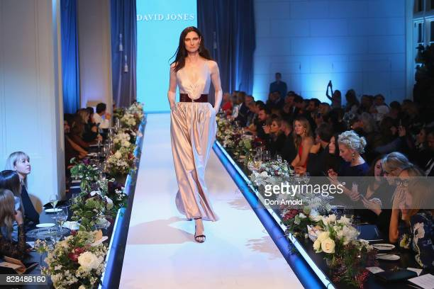 A model showcases designs during the David Jones Spring Summer 2017 Collections Launch at David Jones Elizabeth Street Store on August 9 2017 in...