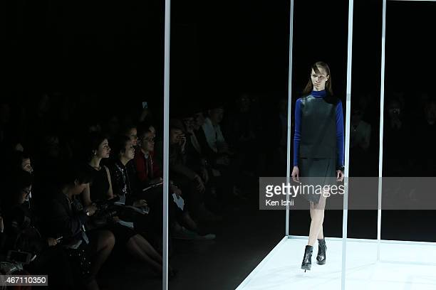 Model showcases designs during the JOHN LAWRENCE SULLIVAN show as part of Mercedes Benz Fashion Week TOKYO 2015 A/W at Shibuya Hikarie on March 21,...