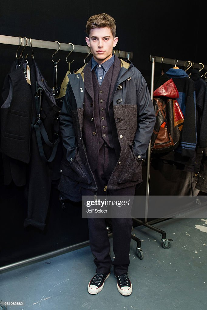 fb173a2c2658 A model showcases designs during the Nigel Cabourn presentation ...