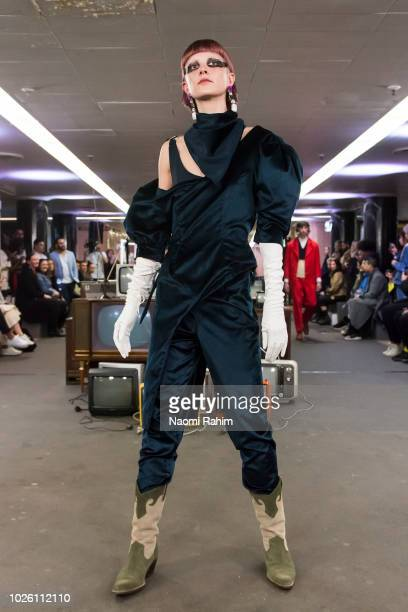 A model showcases designs during Underground Runway One show at Melbourne Fashion Week on September 2 2018 in Melbourne Australia