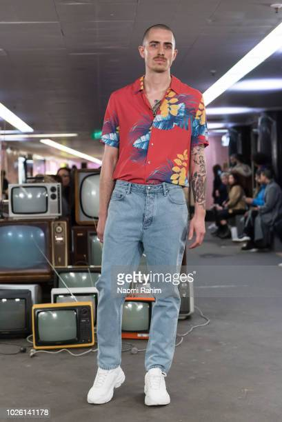 A model showcases designs during Underground Runway Two show at Melbourne Fashion Week on September 2 2018 in Melbourne Australia