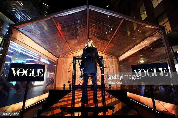 A model showcases designs during Vogue Fashion's Night Out on September 3 2015 in Sydney Australia