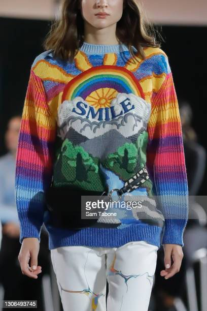 Model showcases designs from Stella McCartney during the Gala Runway at Melbourne Fashion Festival at National Gallery of Victoria on March 11, 2021...