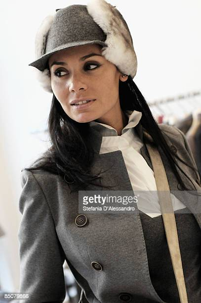 A model showcases designs from the Brunello Cucinelli collection during Milan Fashion Week Womenswear Autumn/Winter 2009 at the Brunello Cucinelli...