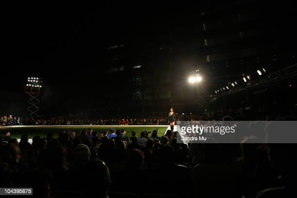 A model showcases designs in the Huffer show as part of New Zealand Fashion Week 2010 at Owen Glenn Building on September 24 2010 in Auckland New...