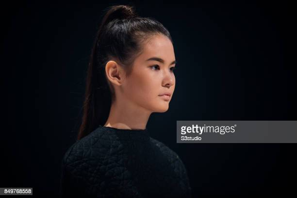 Model showcases designs L´Intrigue by Grace CY Lam during the Visceral Instinct show by Raffles Hong Kong as part of the Fashion Week for Spring /...