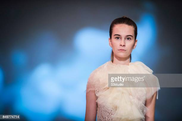 Model showcases designs Marie Van Goethem by Grace CY Lam during the Visceral Instinct show by Raffles Hong Kong as part of the Fashion Week for...
