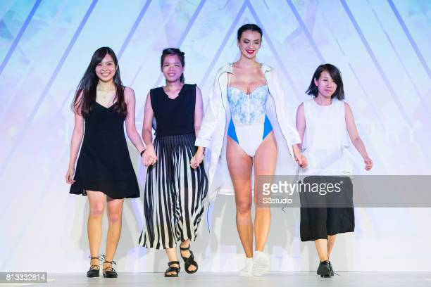 Model showcases designs of Chan Wing Ki Alyce Yeung Fun Yan and Katie Yip Ka Wai on the runway during the PolyU Intimate Fashion Show 2017 on the Day...