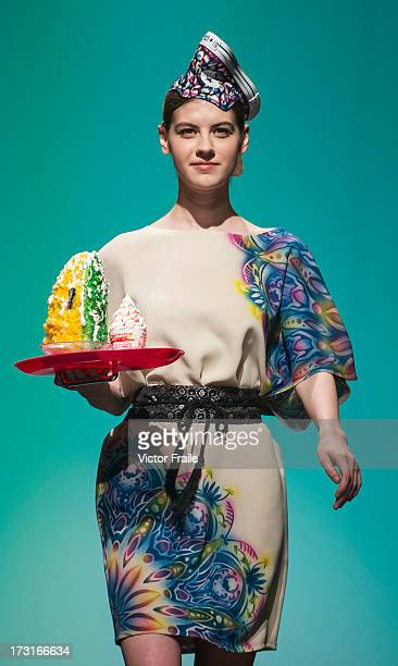 A model showcases designs of Kanna Yamauchi Yokang on the runway during the Designer Collection Show on day 2 of Hong Kong Fashion Week Spring/Summer...