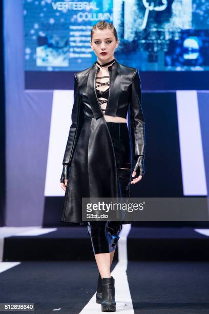 Model showcases designs of Sarah Yip and Wing Shan on the runway on the Day 2 of the Hong Kong Fashion Week for Spring/Summer 2017 at the Hong Kong...