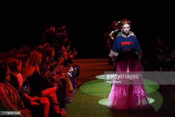 Model showcases designs on runway by NON TOKYO during Rakuten Fashion Week TOKYO 2020 S/S on October 15, 2019 in Tokyo, Japan.