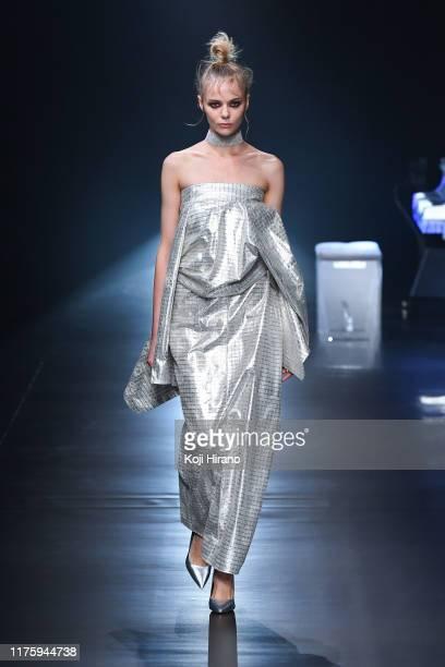 A model showcases designs on runway by Yoshikimono during Rakuten Fashion Week TOKYO 2020 S/S on October 14 2019 in Tokyo Japan